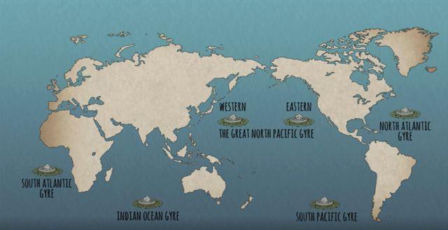 """La vidéo """"What Really Happens to the Plastic You Throw Away"""" rappelle aussi l'existence des vortex formés par les courants océaniques, où sont amassés des millions de détritus. Aujourd'hui, il en existe cinq dans les mers du monde."""
