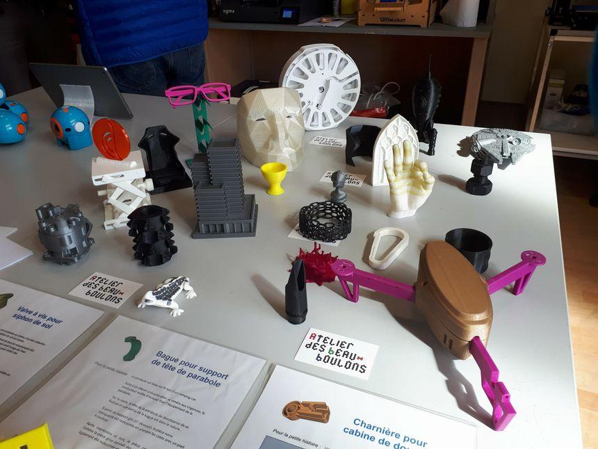 Exemples d'objets imprimés en 3D au tiers-lieu