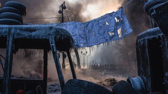 Kiev, UKRAINE. 25 janvier 2014. Mouvement pro-européen «EuroMaidan» dans la capitale ukrainienne.