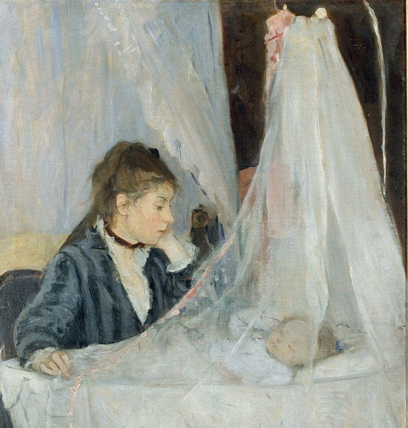 """""""Le berceau"""" (la soeur de l'artiste Edma veillant sur le sommeil de sa fille, Blanche) de Berthe Morisot (1841-1895) 1872."""