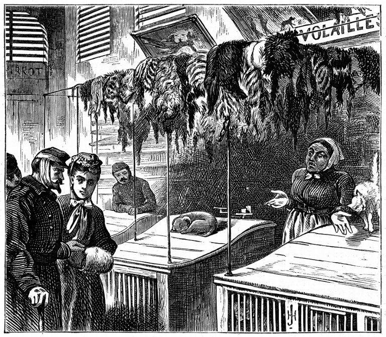 Marché pendant le siège de Paris. Illustration tirée de The Graphic, London, février 1871. Gravure.