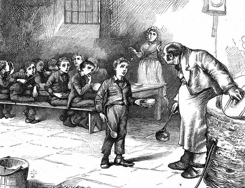 """""""'Please, sir,' replied Oliver, 'I want some more.'"""" Scène emblématique du début des « Aventures d'Oliver Twist » (1837) de Charles Dickens, illustrée ici par une gravure de J. Mahoney pour l'édition Household de 1871."""