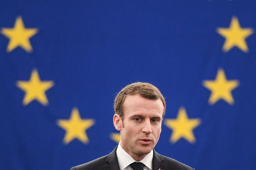 Emmanuel Macron lors de son discours devant le Parlement européen à Strasbourg, 17 avril 2018.
