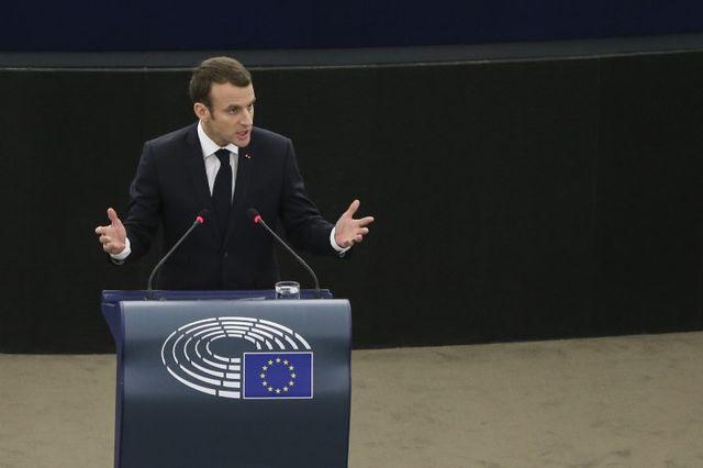 Emmanuel Macron lors de son discours au Parlement européen