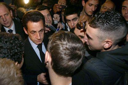 Nicolas Sarkozy durant une visite à Sartrouville 21 janvier 2008.