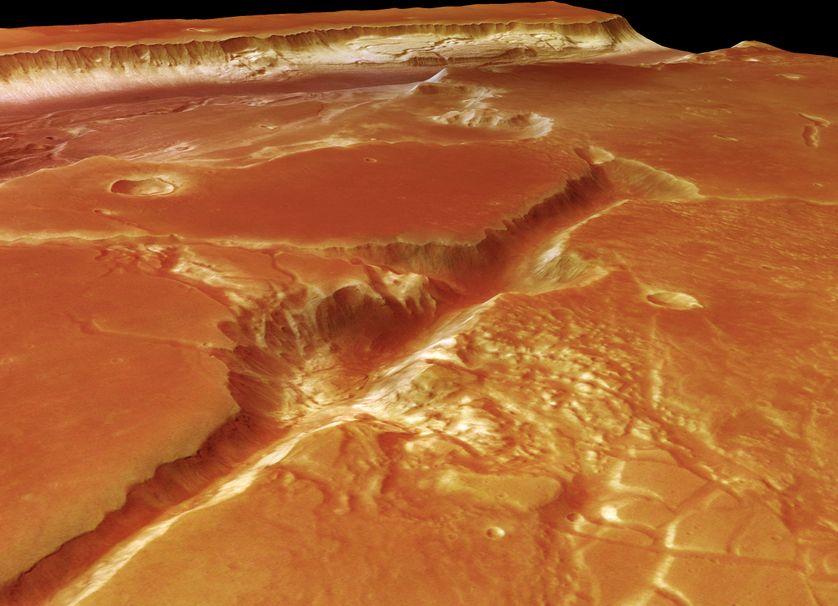 Photographie de la vallée martienne Kasei Valles, prise par la sonde Mars Express