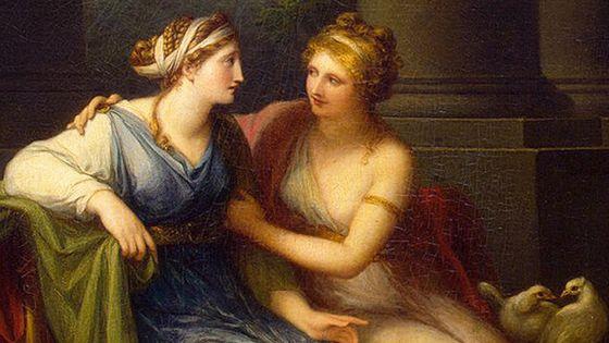 Vénus persuadant Hélène d'aimer Pâris (détail), peinture d'Angelika Kaufmann