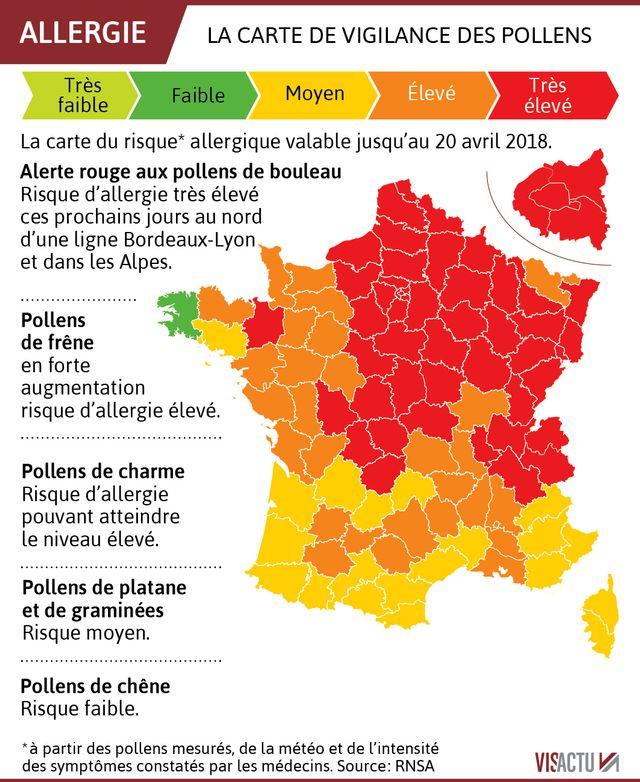 La carte de vigilance des pollens