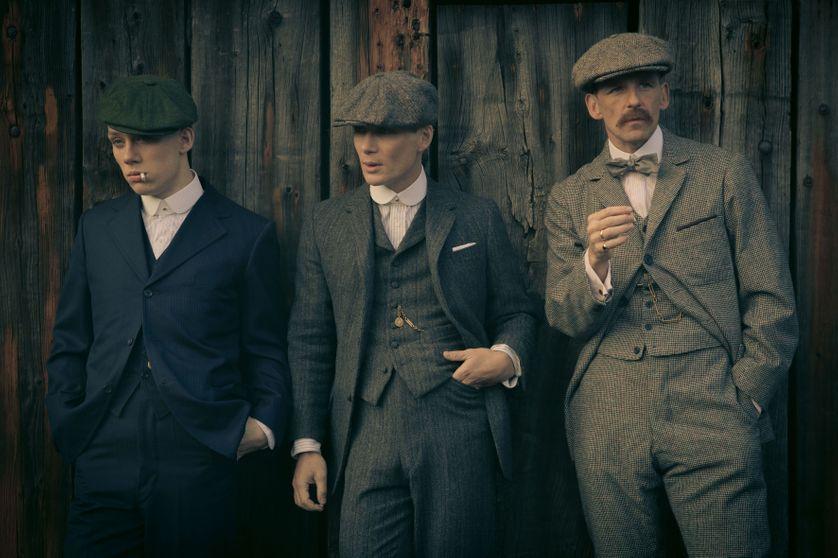"""Le gang de Birmingham... Joe Cole (John Shelby), Cillian Murphy (Thomas Shelby) et Paul Anderson (Arthur Shelby Junior) dans la saison 1 (2013) de la série télévisée britannique """"Peaky Blinders"""""""