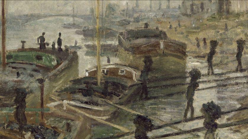 """Claude Monet, """"Les charbonniers"""", dit aussi """"Les déchargeurs de charbon"""" (détail), 1875, huile sur toile, 54 x 66 cm, Musée d'Orsay (Paris, France)"""
