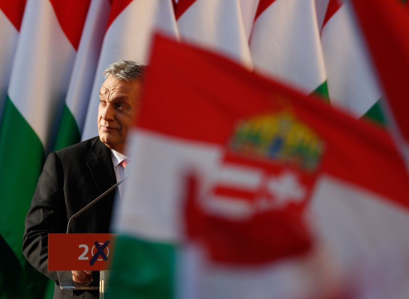 Hungarian Prime Minister Viktor Orban attends his Fidesz party campaign closing rally on April 6, 2018 in Szekesfehervar