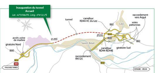 Sur le plan dessiné par les services de l'Etat pour l'inauguration, le tunnel est représenté par les pointillés en rouge.  - Aucun(e)