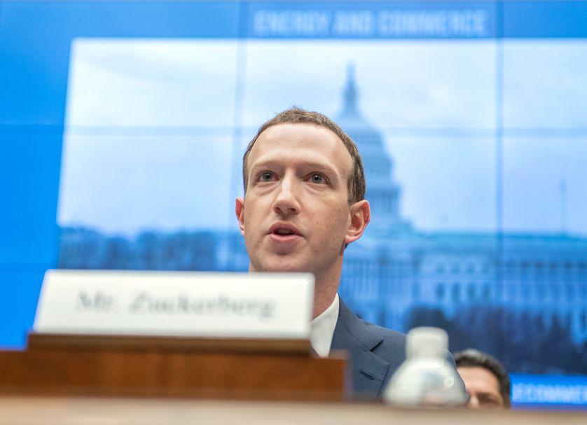 Mark Zuckerberg devant le Congrès américain en avril 2018