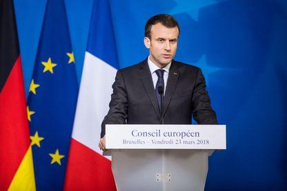 Emmanuel Macron à Bruxelles lors du Conseil européen du 23 mars 2018.