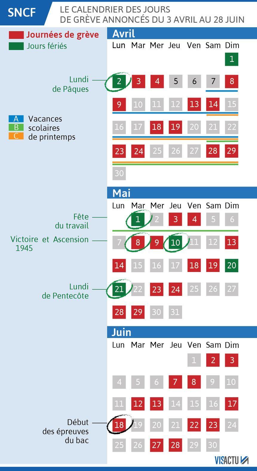 Le calendrier des jours de grève prévus à la SNCF jusqu'à la fin du mois de juin.