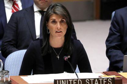 L' ambassadrice américaine Nikki Haley lors de la séance houleuse au Conseil de Sécurité de l'ONU