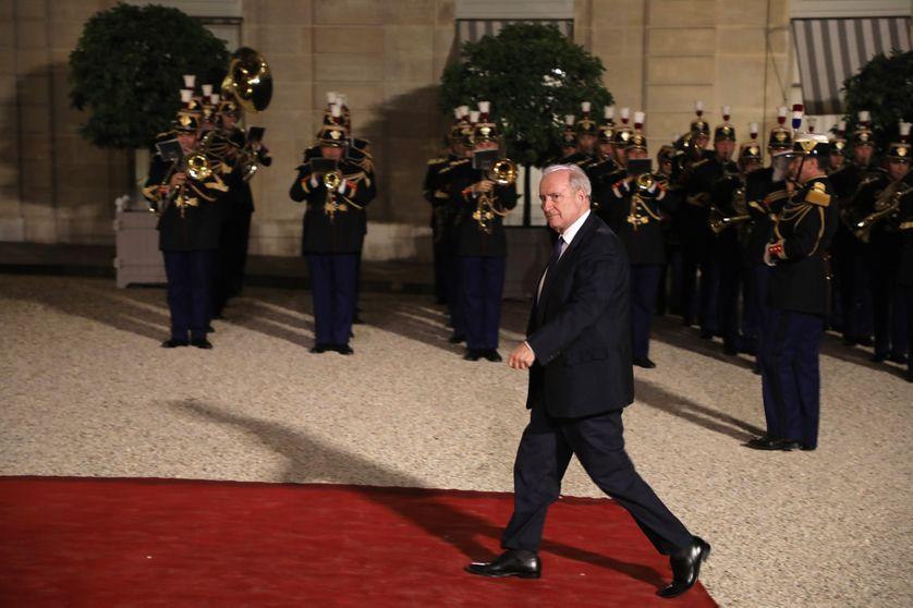 Hubert Védrine à l'Elysée le 25 septembre 2017
