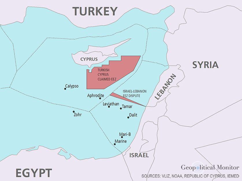 """Sources : Vliz, Noaa, Republic of Cyprus, IEMED, Carte publiée dans le """"Geopolitical Monitor"""""""