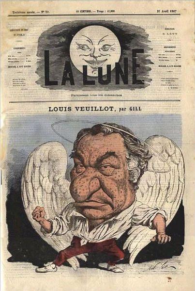 Louis Veuillot (1813-1883) par André Gill, caricature publiée dans « La Lune », 21 Avril 1867