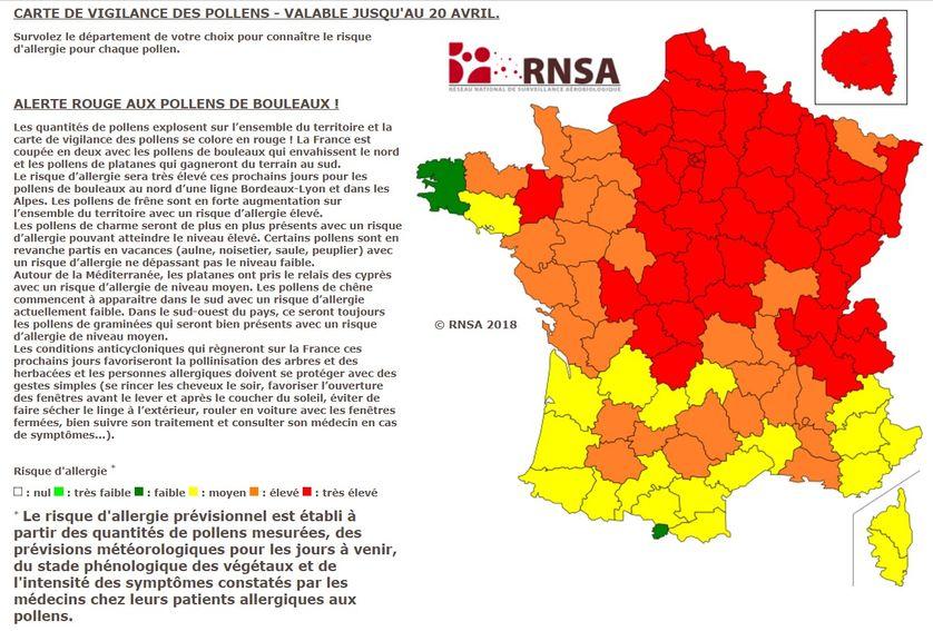 Carte de vigilance des pollens valable jusqu'au 20 avril 2018