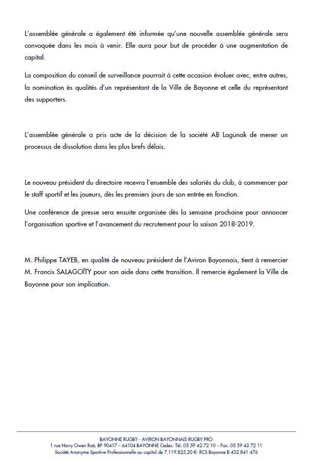 Communiqué de presse de l'Aviron Bayonnais à l'issue de l'Assemblée Générale Extraordinaire des actionnaires
