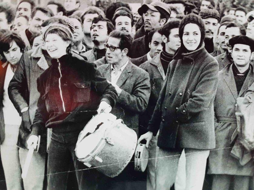1969-1971, Action de rue, au 1er plan, Monique Frydman et Hélène Bleskine