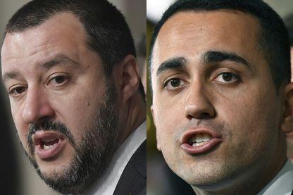 """Matteo Salvini, leader du parti d'extrême droite """"Lega"""" et Luigi Di Maio leader du Mouvement des Cinq étoiles"""