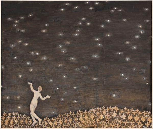 Kristjan Raud (Viru-Jaagupi, Estonie, 1865 – Tallinn, Estonie, 1943) Sous les étoiles (du cycle L'Homme et la nuit), 1907-1909 Encre de Chine et gouache, 42 × 49 cm Tallinn, musée d'Art d'Estonie, inv. EKM G 9043