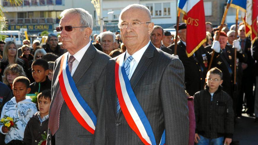 Albert Edouard (à gauche) et Christian Jeanjean, lors d'une cérémonie le 11 novembre 2009