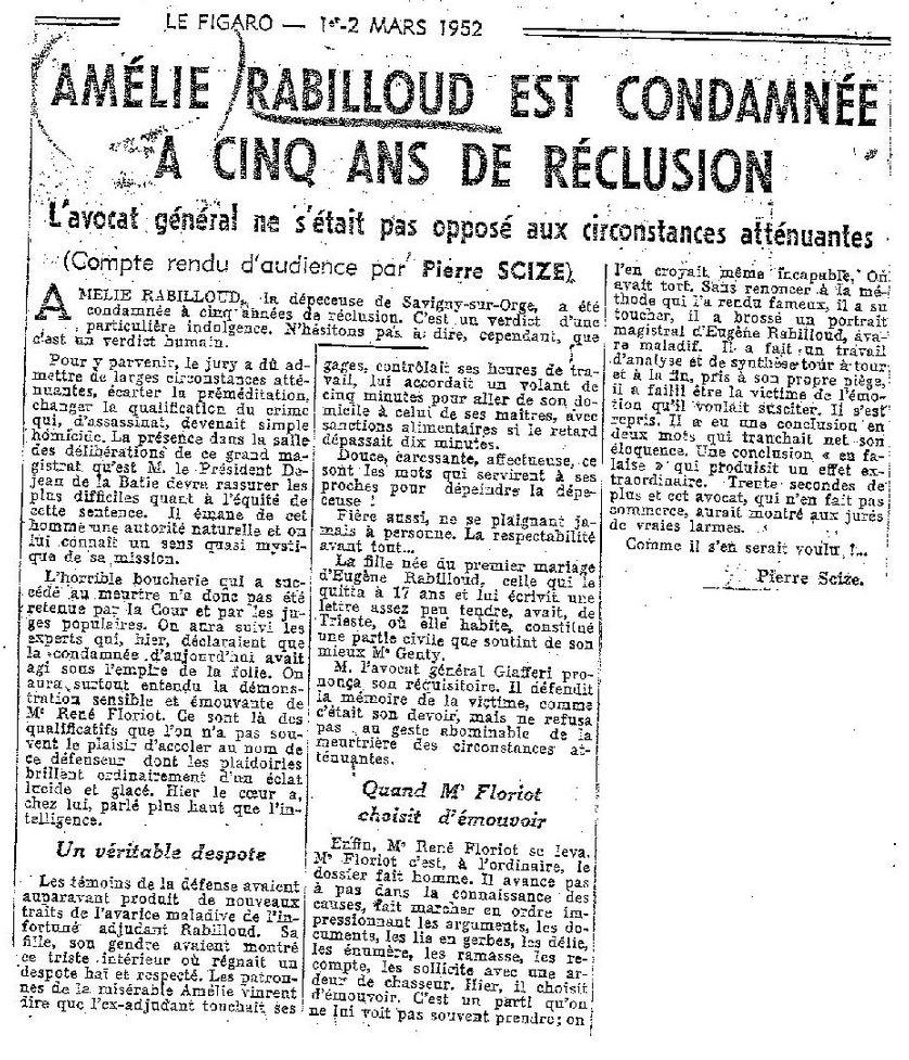 Article du Figaro des 1 et 2 mars 1952