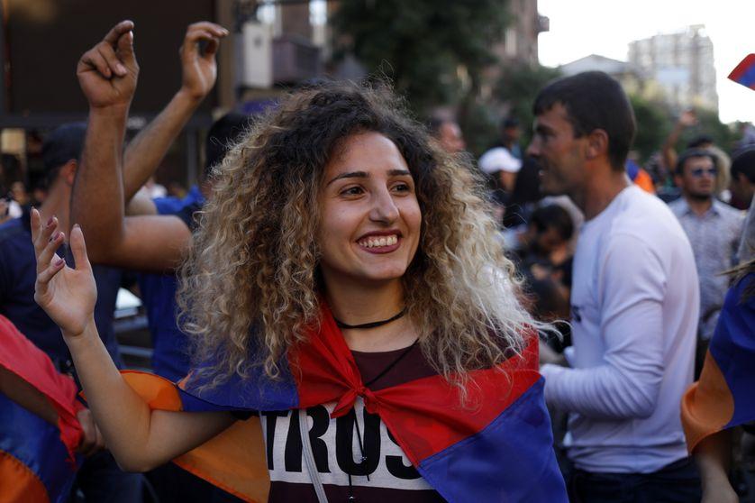 Le 2 mai 2018 à Erevan, lors d'une manifestation de soutien à Pachinian.