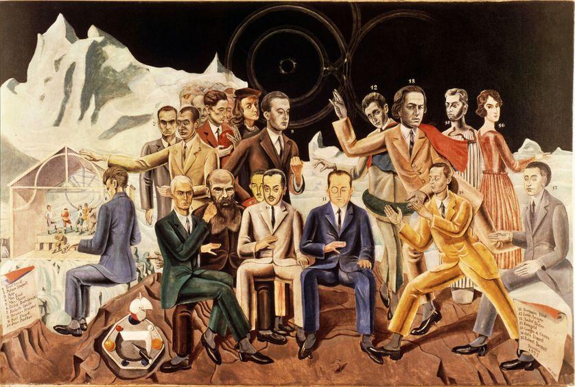 Au Rendez-vous des amis, Max Ernst (1922) - La tableau présente les principaux tenants du surréalisme, grand courant artistique et notamment littéraire du début du XXè siècle