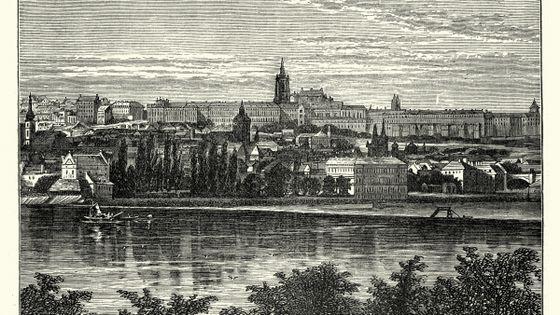 Palais des rois de Bohème et Cathédrale de Hradschin, Prague - Gravure (année non identifiée)
