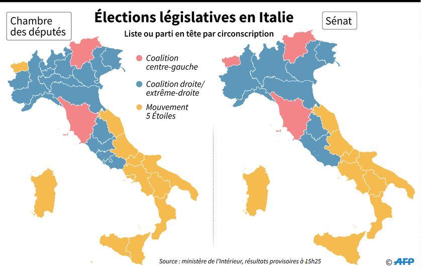 Carte des résultats par circonscription pour la Chambre des députés et le Sénat