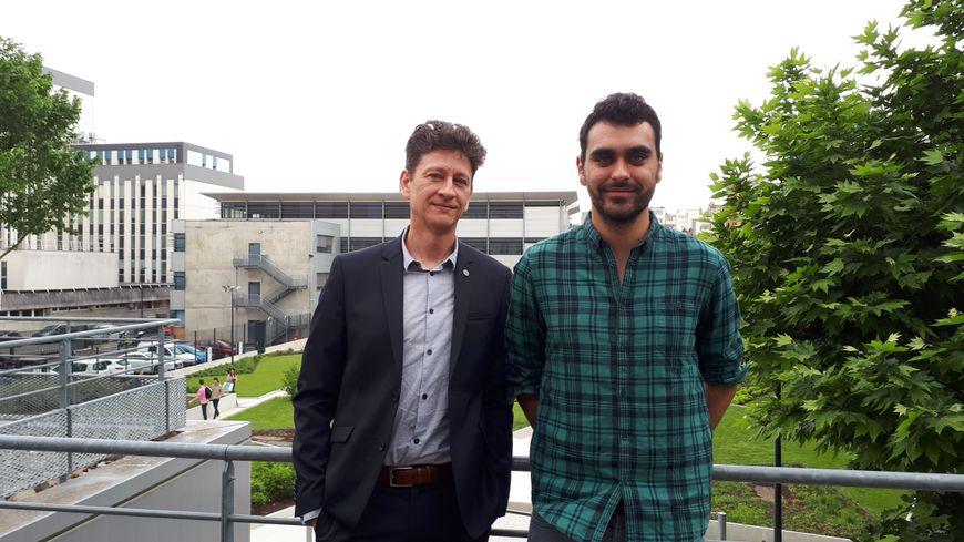 Un apprenti ingénieur, Mathias Corbetta, et le responsable de la formation, Emmanuel Chaput, à l'Enseeiht à Toulouse