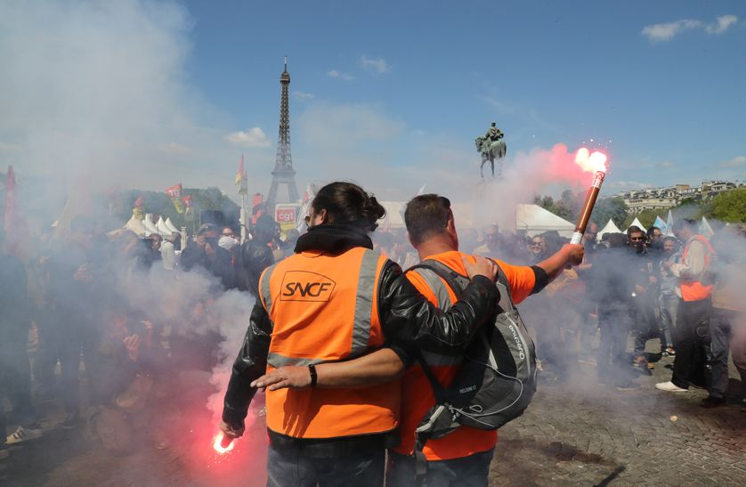 Les cheminots étaient rassemblés le 3 mai à Paris pour protester contre la réforme du rail.