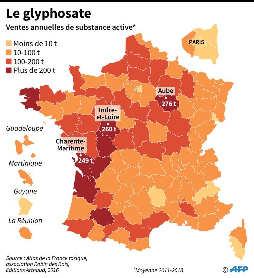 Glyphosate : ventes annuelles de substance active par département en France selon une étude de l'association écologiste Robin des Bois