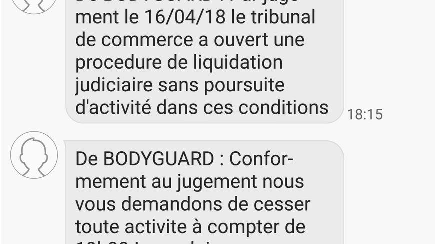 Capture d'écran d'un salarié de Bodyguard. SMS indiquant la liquidation judiciaire
