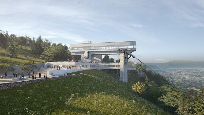Image d'architecte du projet de rénovation du téléphérique du Salève (@DDAarchitectes)