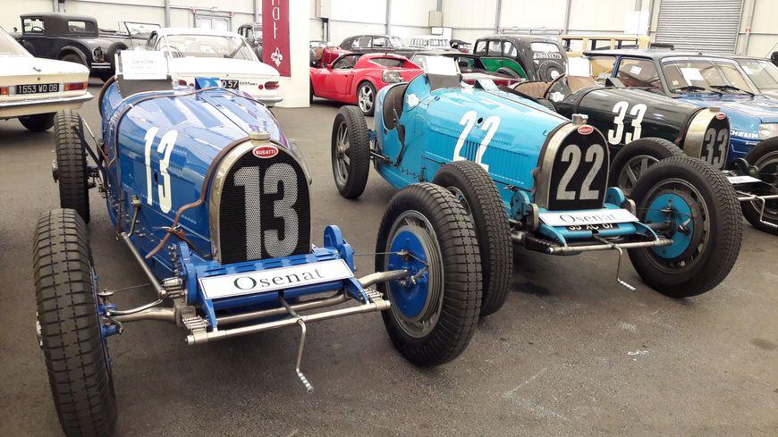 Une Bugatti type 51 et une Bugatti type 35B, à Strasbourg le 1er mai 2018
