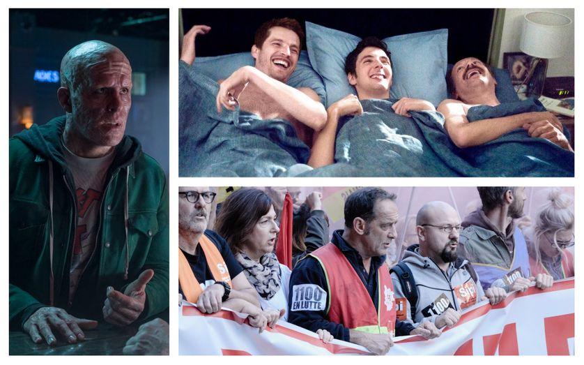 """A gauche: """"Deadpool 2"""" (©Twentieth Century Fox France) A droite : """"Aimer plaire et courir vite """" (©Jean-Louis Fernandez / LFP- Les Films Pelléas - Gaumont - France 3) et """"En guerre""""(©Nord Ouest Films)"""