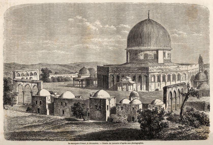 La mosquée d'Omar, edifiée en 691, a Jérusalem, dessin de Lancelot, pour illustrer le voyage en Palestine, en 1856, de M. Bida.