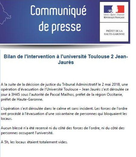 Le communiqué ce mercredi matin de la préfecture de Haute Garonne