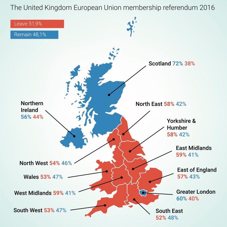 Le résultat du référendum Royaume-Uni Brexit Vector illustration of the map of The United Kingdom with the results from the European Union Membership referendum in 2016, par Calvin Dexter  (image libre de droits)