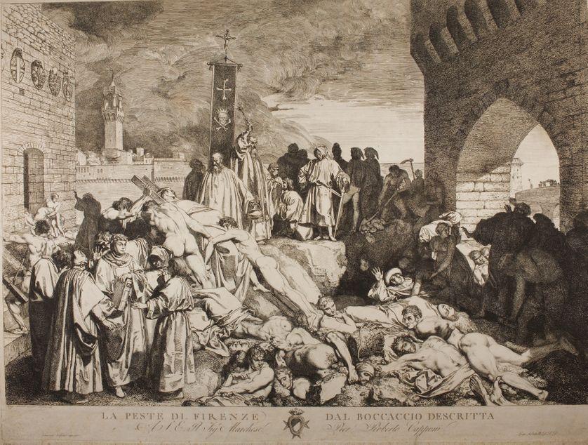 """""""La Peste di Firenze dal boccaccio descritta"""", la peste de Florence en 1348, décrite dans """"Le Décaméron"""" de Boccace (1313-1375), dessin de  Luigi Sabatelli"""