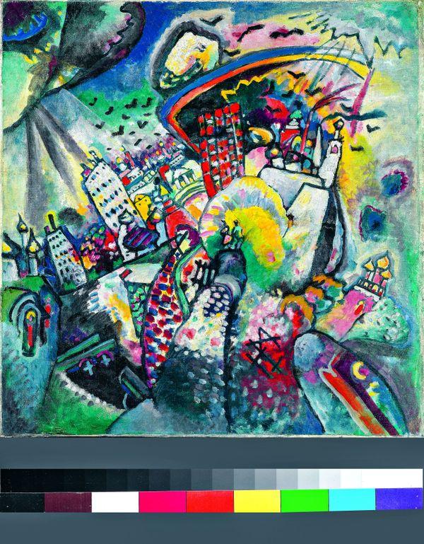 Vassily Kandinsky : Moscou. La Place Rouge, 1916 Huile sur toile, 51,5 × 49,5 cm Galerie nationale Trétiakov, Moscou