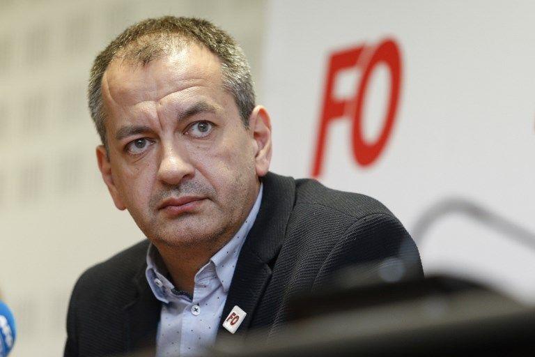 Pascal Pavageau en conférence de presse au siège de FO à l'occasion du 1er mai