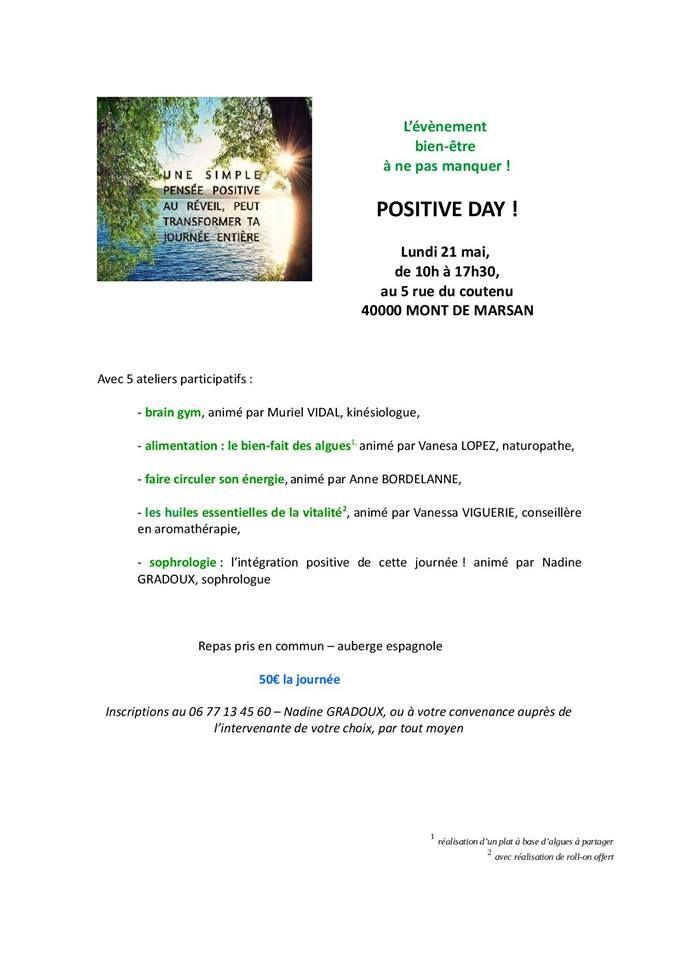 "Vanesa Lopez organise un ""Positive day"" le 21 mai."