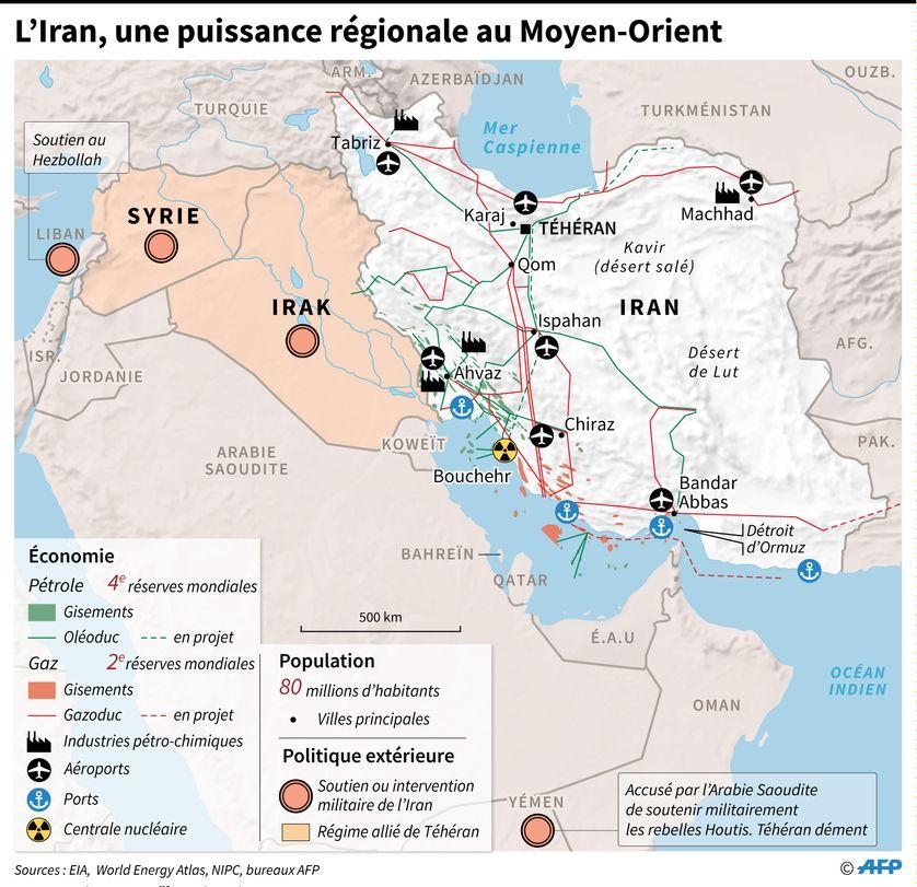 Carte des principales ressources economiques, infrastructures et présence régionale de l'Iran