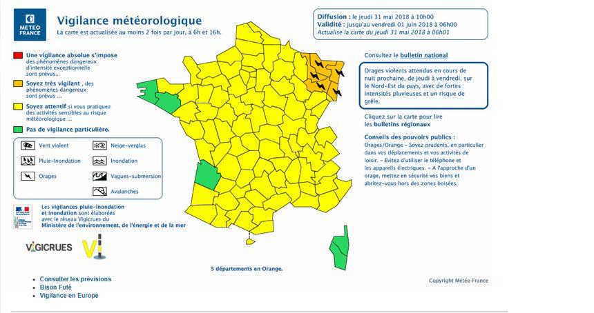 Cinq départements du Grand Est en vigilance orange à partir de jeudi 31 mai à partir de 22h